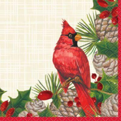 Red Cardinal Beverage Napkin - 16 Pack