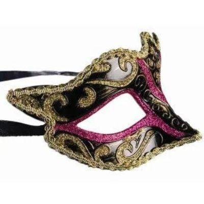 Black Eye Mask With Gold Accents