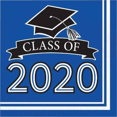 Blue Graduation 2020 Lunch Napkins - 36 Pack
