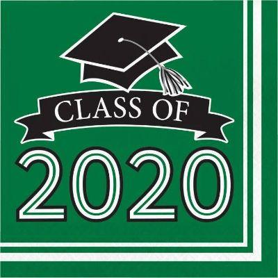 Green Graduation 2020 Lunch Napkins - 36 Pack