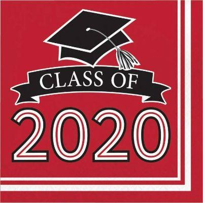 Red Graduation 2020 Lunch Napkins - 36 Pack
