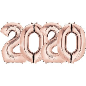 "Rose Gold 2020 Mylar Balloon Set 16"" - Air Fill"