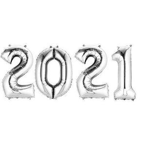 "2021 Silver Mylar Balloon Set 16"" - Air Fill"