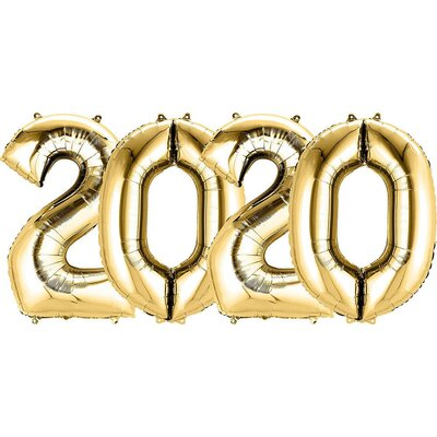 Gold 2020 Mylar Balloon Set 16