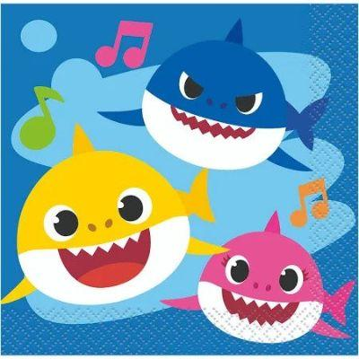Baby Shark Beverage Napkin - 16 Pack