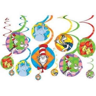 Dr Seuss Swirl Decorations - 12 Pack