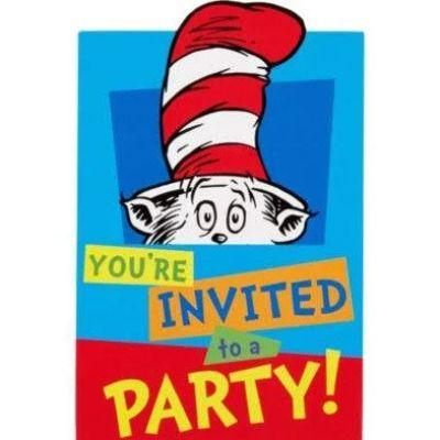 Dr Seuss Invitations - 8 Pack