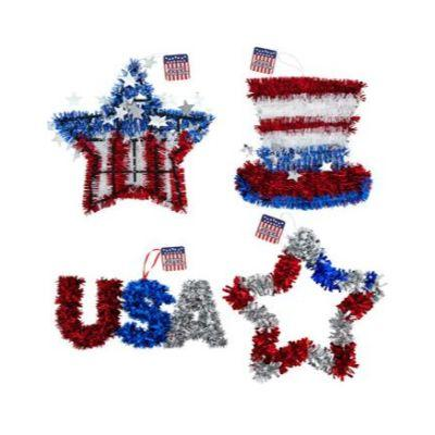 Patriotic Tinsel Decoration - Assorted