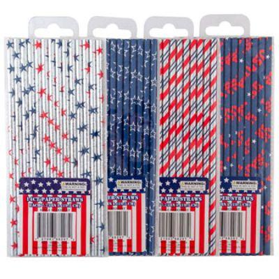 Patriotic Paper Straws 14 Pack - Assorted
