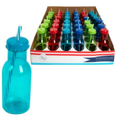 Drinking Bottle with Straw & Lid - Assorted