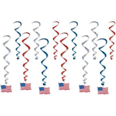 American Flag Hanging Decorations - 12 Pack