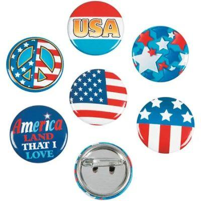 Patriotic Mini Buttons - 12 Pack