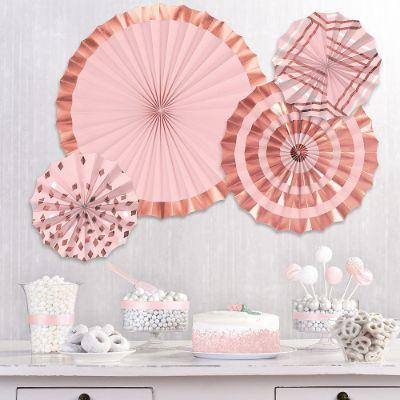Rose Gold Paper Fan Decorations - 3 Pack