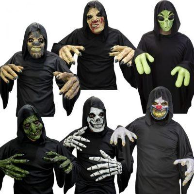 Spooky Face Mask With Hands Costume Set - Assorted