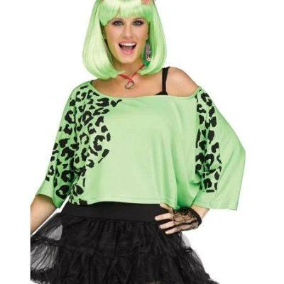 80s Green Animal Print Crop Top