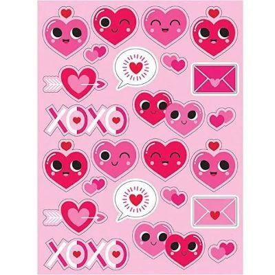 Valentine Emoji Sticker Sheets - 4 Pack