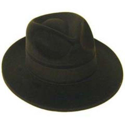 Black Velour-Covered Plastic Fedora Hat