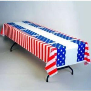 (Curbside Pick-Up Only) Stars & Stripes Plastic Tablecover Roll 100'