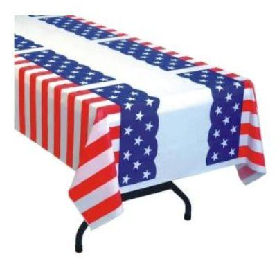 Red white & Blue Plastic Tablecover 54