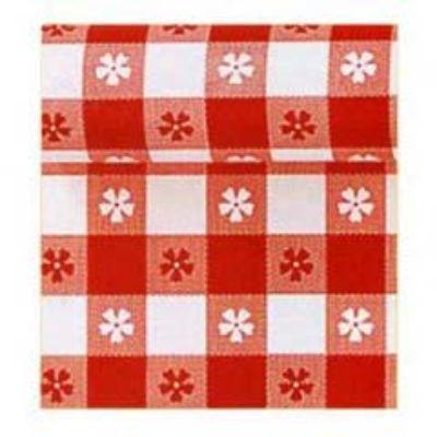Red Gingham Plastic Tablecover Roll 100'