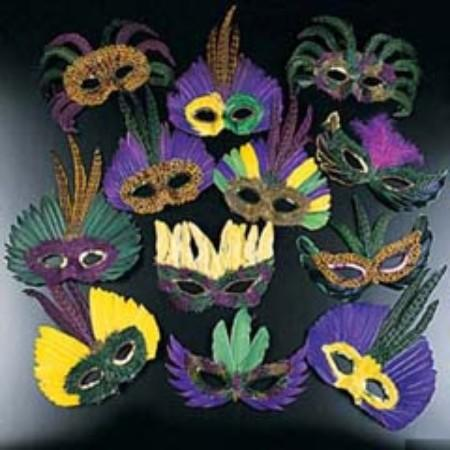 Mardi Gras Feather Mask Assorted