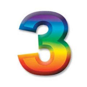 "Multi-Color Plastic 3-D Number ""3"""