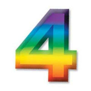 "Multi-Color Plastic 3-D Number ""4"""