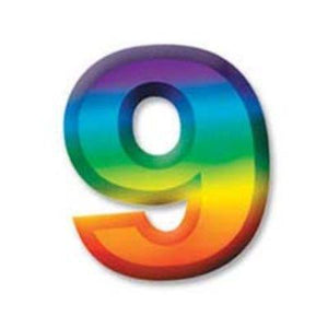 "Multi-Color Plastic 3-D Number ""9"""