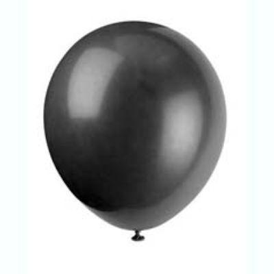 Jet Black Latex Balloons 12