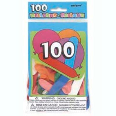 Party Balloons Assorted Latex Balloons - 100 Pack
