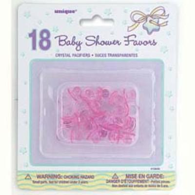 Baby Shower Pink Crystal Pacifiers - 18 Pack