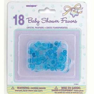 Baby Shower Blue Crystal Pacifiers - 18 Pack
