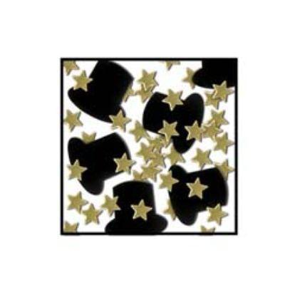 Gold & Black Top Hats & Mini Stars Fanci-Fetti