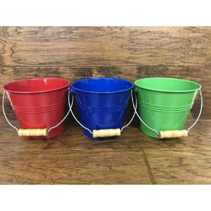 "Metal Pail With Wooden Handle 5"" Assorted"