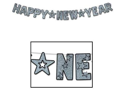 Happy New Year Letter Banner - Silver & Black