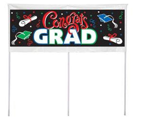 (Curbside Pick-Up Only) Congrats Grad Yard Pole Banner