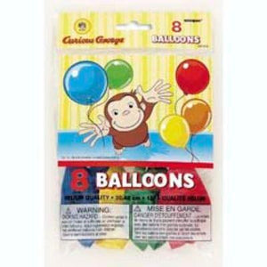 "Curious George Latex Balloons 12"" - 8 Pack"