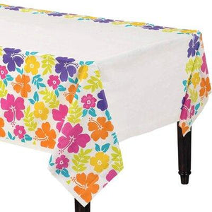 "Hibiscus White Tablecover 54"" x 96"""
