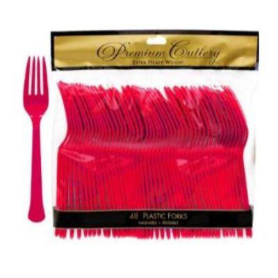 Apple Red Premium Plastic Forks - 48 Pack