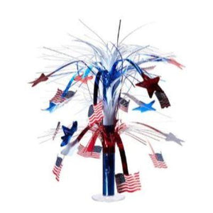Red White & Blue USA Flag Cascading Centerpiece 18""