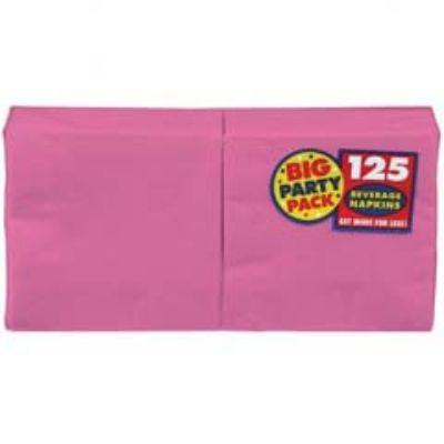 Bright Pink Big Party Pack Beverage Napkin - 125 Pack
