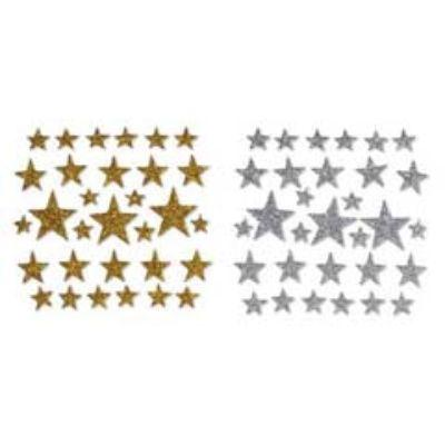 Foamies Glitter Star Stickers Assorted - Gold or Silver