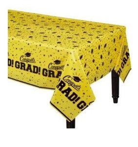 "Yellow Congrats Grad Tablecover 54"" x 84"""
