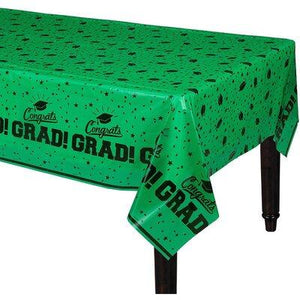 "Green Congrats Grad Tablecover 54"" x 84"""