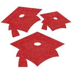 Congrats Grad Red Glitter Cutouts - 12 Pack