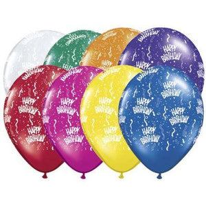 "Happy Birthday Jewel Assorted Latex Balloons 5"" - 100 Pack"
