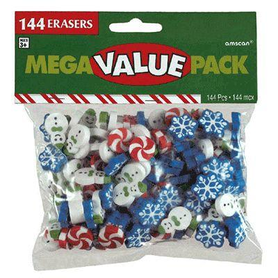 Christmas Erasers - 144 Pack