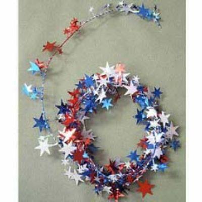 Red White & Blue Star Wire Garland 25'