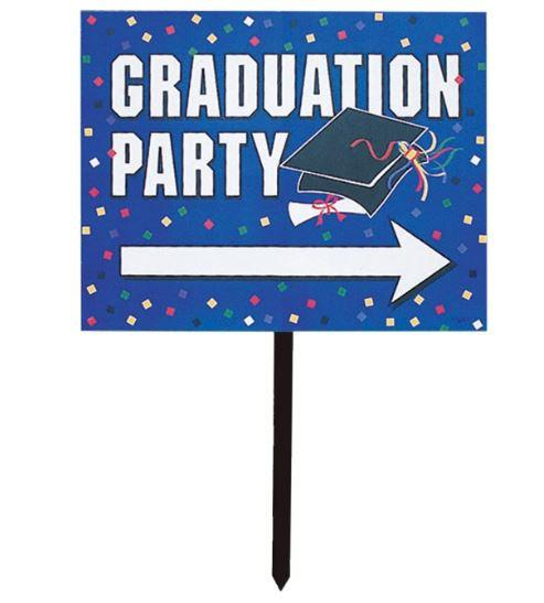 In-Store Only - Blue Graduation Party Direction Sign