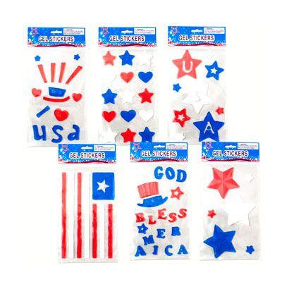 Patriotic Gel Stickers - Assorted